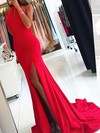Sheath/Column Halter Jersey Sweep Train Split Front Prom Dresses #Favs020104892