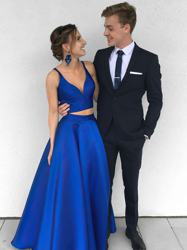 Satin V-neck Princess Floor-length Prom Dresses #Favs020104903