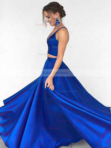 Satin V-neck Princess Floor-length Prom Dresses #Favs020104903