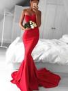 Trumpet/Mermaid Sweetheart Sweep Train Silk-like Satin Prom Dresses with Ruffle #Favs020103568