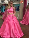 Princess Halter Sweep Train Satin Prom Dresses with Beading #Favs020104913