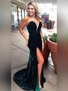 Sheath/Column Strapless Velvet Sweep Train Split Front Prom Dresses #Favs020104915