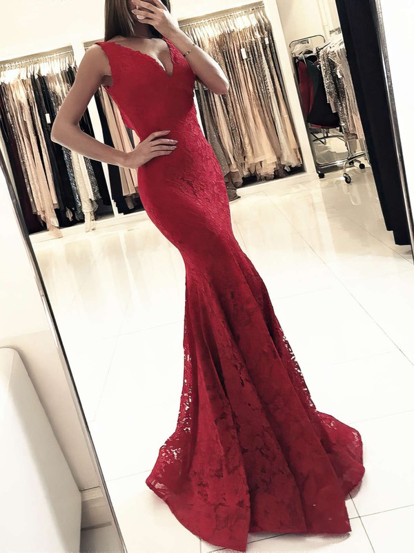 Trumpet/Mermaid V-neck Floor-length Lace Prom Dresses #Favs020104918