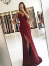 Sheath/Column V-neck Sweep Train Silk-like Satin Prom Dresses with Split Front Ruffle #Favs020104919