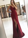 Sheath/Column V-neck Sweep Train Silk-like Satin Prom Dresses with Split Front Ruffle #Favs020104919