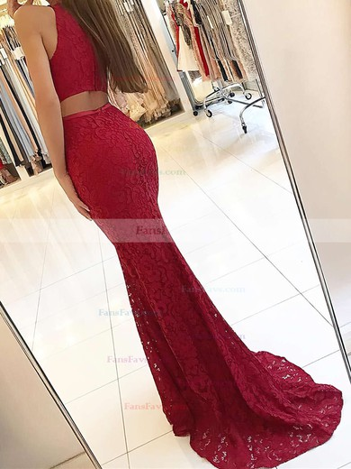 Sheath/Column High Neck Sweep Train Lace Prom Dresses with Sashes #Favs020104921