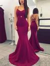 Trumpet/Mermaid V-neck Silk-like Satin Sweep Train Prom Dresses #Favs020104922