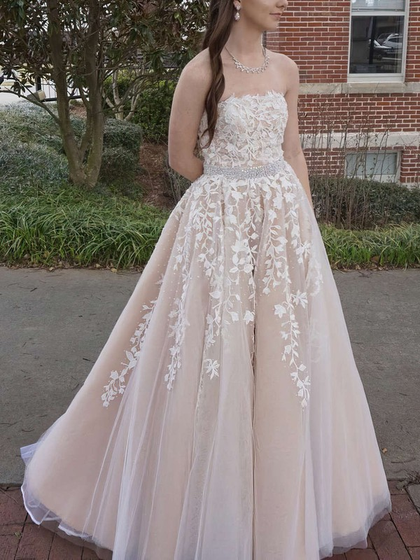 Princess Strapless Floor-length Tulle Prom Dresses with Appliques Lace Sashes #Favs020104927