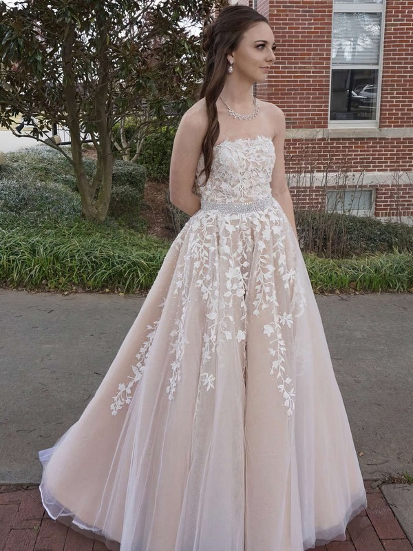 88995fcf0b4e princess strapless floorlength tulle prom dresses with appliques lace  sashes favs.