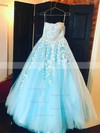 Princess Strapless Tulle Floor-length Beading Prom Dresses #Favs020104927