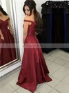 A-line Off-the-shoulder Sweep Train Satin Prom Dresses with Sashes #Favs020104929