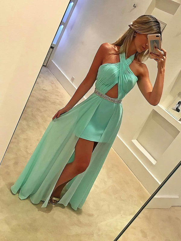 Sheath/Column Halter Floor-length Chiffon Prom Dresses with Beading Split Front #Favs020104930