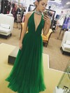 A-line High Neck Tulle Floor-length Beading Prom Dresses #Favs020104935
