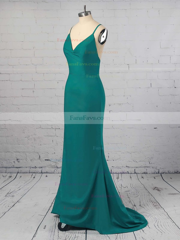 Trumpet/Mermaid V-neck Silk-like Satin Floor-length Prom Dresses #Favs020104950