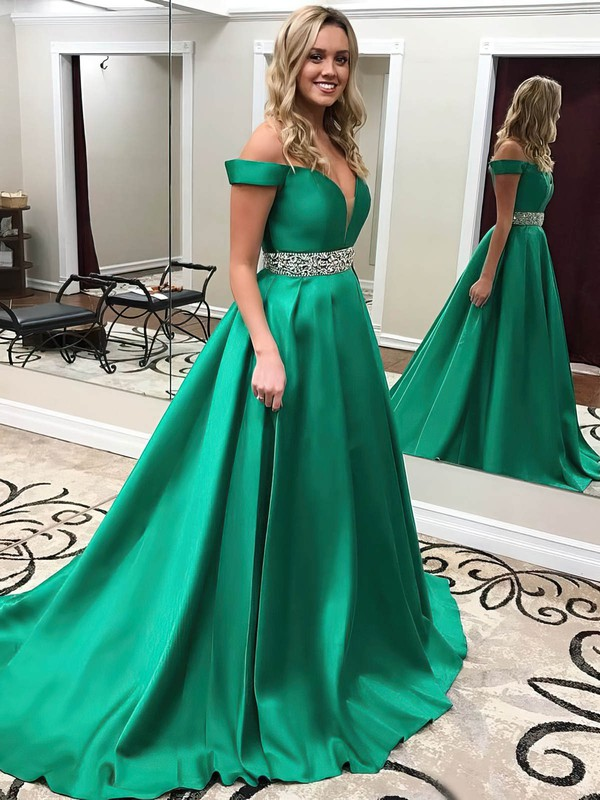 Princess Off-the-shoulder Satin Sweep Train Beading Prom Dresses #Favs020104954