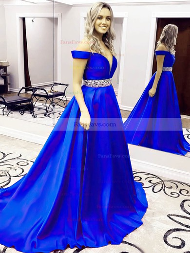 Princess Off-the-shoulder Sweep Train Satin Prom Dresses with Beading Sashes #Favs020104954
