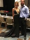 Trumpet/Mermaid V-neck Satin Sweep Train Beading Prom Dresses #Favs020104994