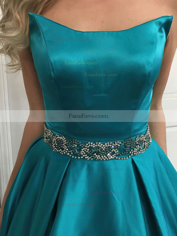 Princess Strapless Satin Sweep Train Beading Prom Dresses #Favs020105014
