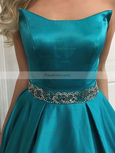 Princess Strapless Sweep Train Satin Prom Dresses with Beading Sashes #Favs020105014