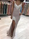 Sheath/Column V-neck Silk-like Satin Sweep Train Appliques Lace Prom Dresses #Favs020105020