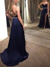 A-line V-neck Satin Sweep Train Beading Prom Dresses #Favs020105149