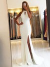 Trumpet/Mermaid Scoop Neck Chiffon Sweep Train Split Front Prom Dresses #Favs020105151
