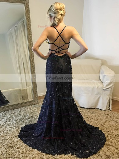 Trumpet/Mermaid V-neck Tulle Sweep Train Beading Prom Dresses #Favs020105152
