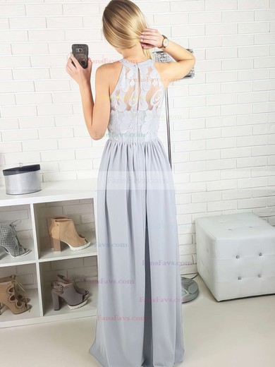 A-line Scoop Neck Floor-length Lace Chiffon Prom Dresses with Split Front #Favs020105172