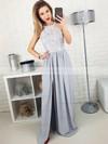 A-line Scoop Neck Lace Silk-like Satin Floor-length Split Front Prom Dresses #Favs020105172