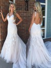 Trumpet/Mermaid V-neck Tulle Sweep Train Appliques Lace Prom Dresses #Favs020105177