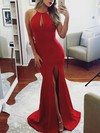 Trumpet/Mermaid Scoop Neck Jersey Sweep Train Split Front Prom Dresses #Favs020105178