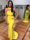 Sheath/Column High Neck Jersey Sweep Train Prom Dresses #Favs020105192