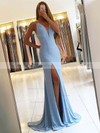 Trumpet/Mermaid V-neck Silk-like Satin Sweep Train Split Front Prom Dresses #Favs020105205