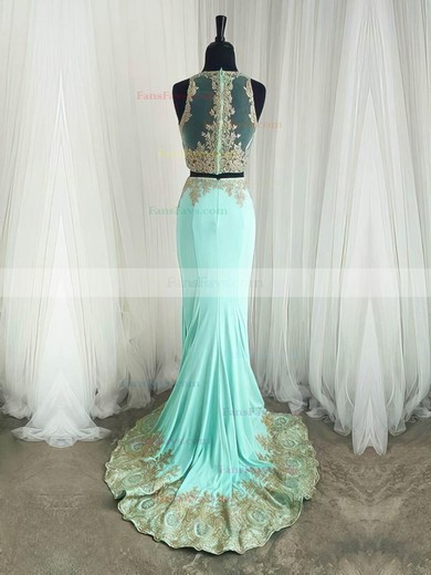 Trumpet/Mermaid Scoop Neck Silk-like Satin Sweep Train Appliques Lace Prom Dresses #Favs020105224