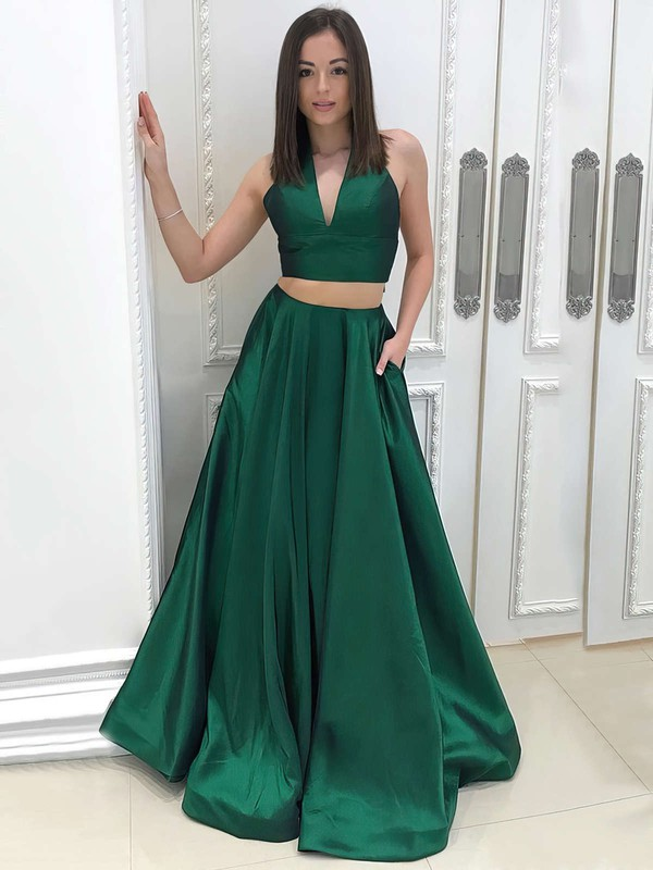Princess V-neck Satin Floor-length Pockets Prom Dresses #Favs020105234