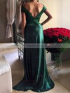 Sheath/Column Off-the-shoulder Silk-like Satin Sweep Train Appliques Lace Prom Dresses #Favs020103584