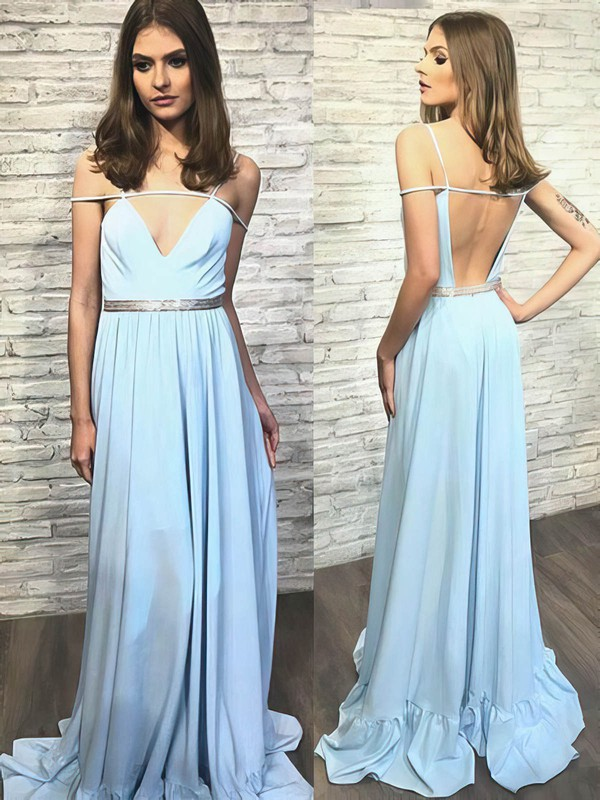 A-line V-neck Chiffon Sweep Train Sashes / Ribbons Prom Dresses #Favs020105240