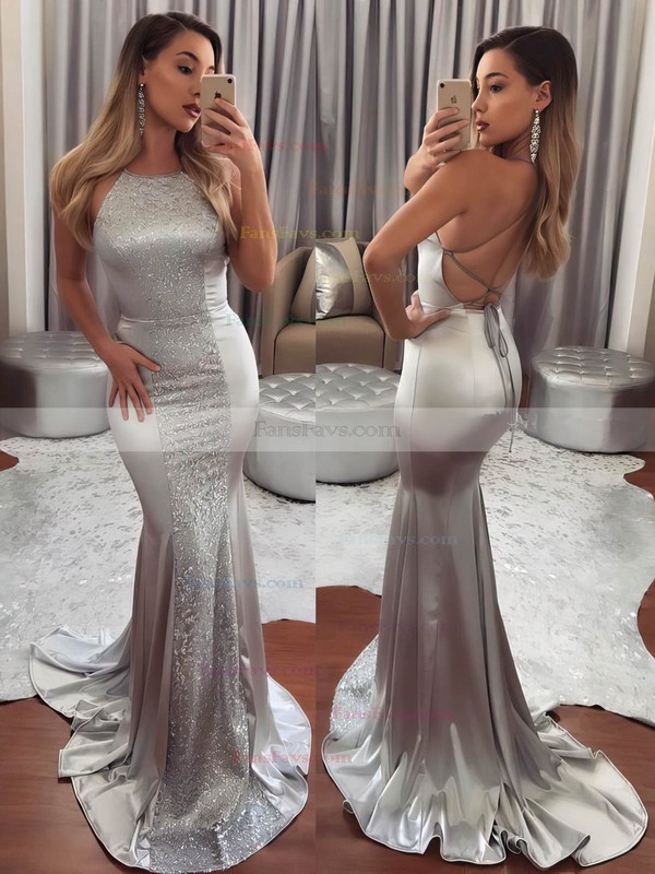 Trumpet/Mermaid Scoop Neck Silk-like Satin Sweep Train Lace Prom Dresses #Favs020105251