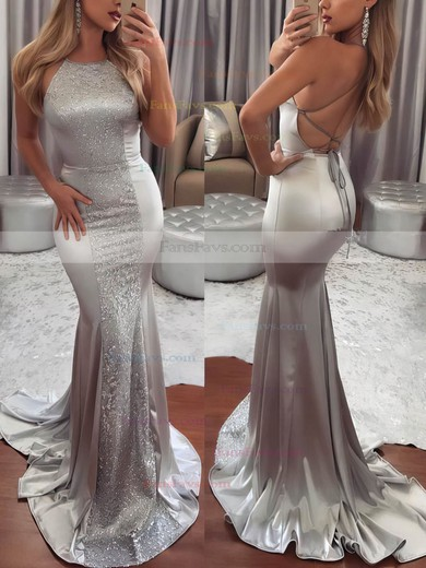 Trumpet/Mermaid Scoop Neck Sweep Train Silk-like Satin Prom Dresses with Lace #Favs020105251