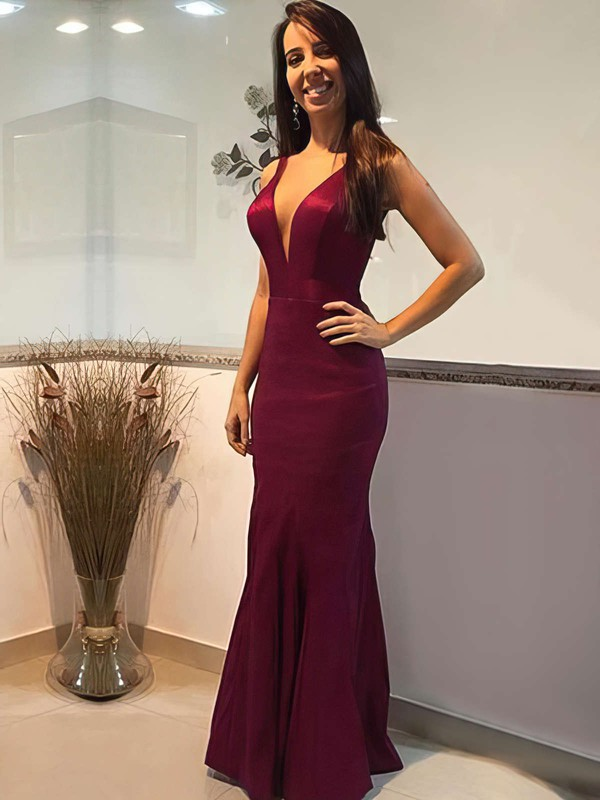Trumpet/Mermaid V-neck Satin Floor-length Prom Dresses #Favs020105253