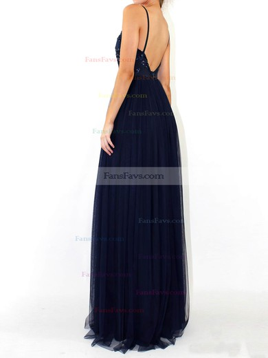 A-line V-neck Floor-length Tulle Prom Dresses with Sequins #Favs020105254