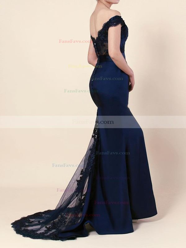 Trumpet/Mermaid Off-the-shoulder Stretch Crepe Sweep Train Beading Prom Dresses #Favs020103589