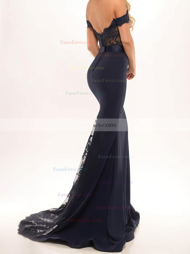 Trumpet/Mermaid Off-the-shoulder Sweep Train Silk-like Satin Prom Dresses with Appliques Lace Sashes #Favs020103589