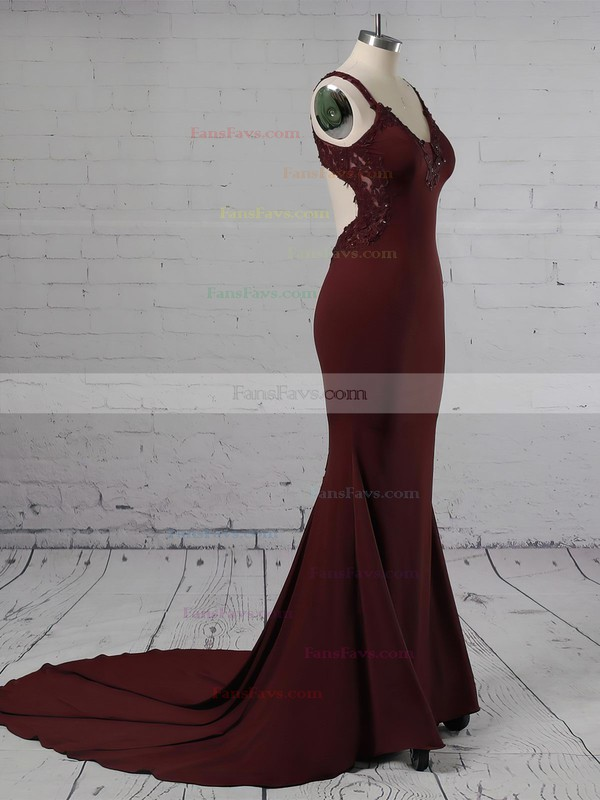 Trumpet/Mermaid V-neck Sweep Train Jersey Prom Dresses with Appliques Lace #Favs020105264