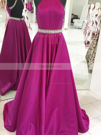 Princess High Neck Sweep Train Satin Prom Dresses with Beading #Favs020105265