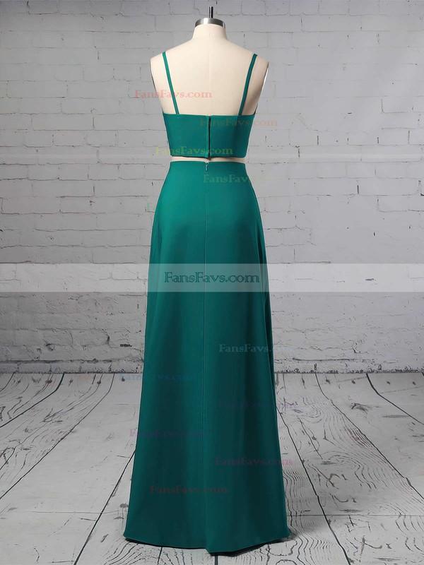 A-line V-neck Silk-like Satin Floor-length Split Front Prom Dresses #Favs020105266