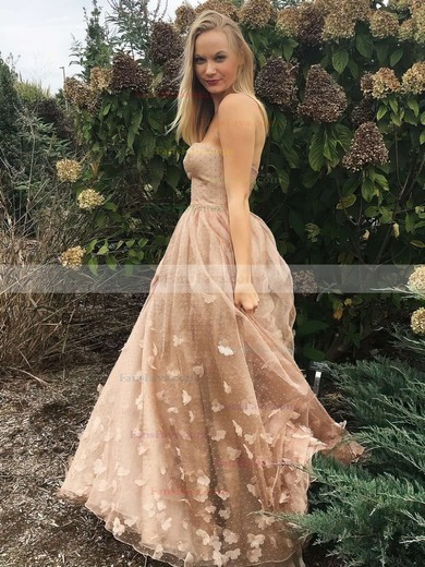 A-line Strapless Sweep Train Tulle Prom Dresses with Flowers #Favs020105270