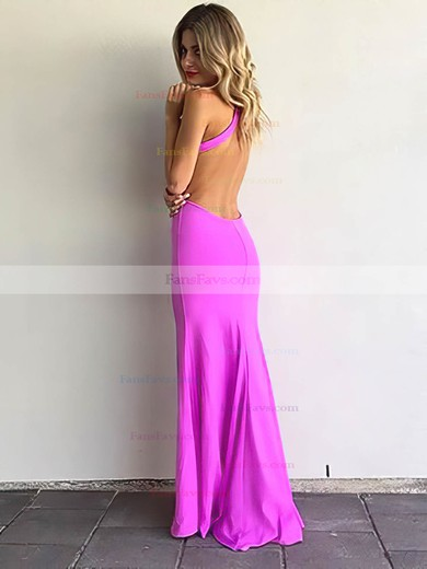 Sheath/Column Scoop Neck Jersey Floor-length Split Front Prom Dresses #Favs020105277