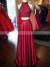 A-line High Neck Silk-like Satin Sweep Train Beading Prom Dresses #Favs020103602