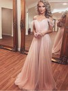 A-line V-neck Chiffon Sweep Train Appliques Lace Prom Dresses #Favs020105279